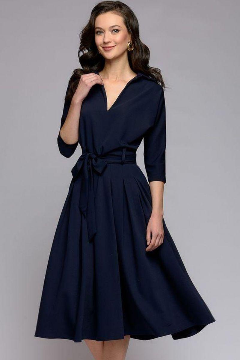 18301c670436364 Элегантное платье с поясом 1001-DM01338DB (ткань - Костюмная ткань ...