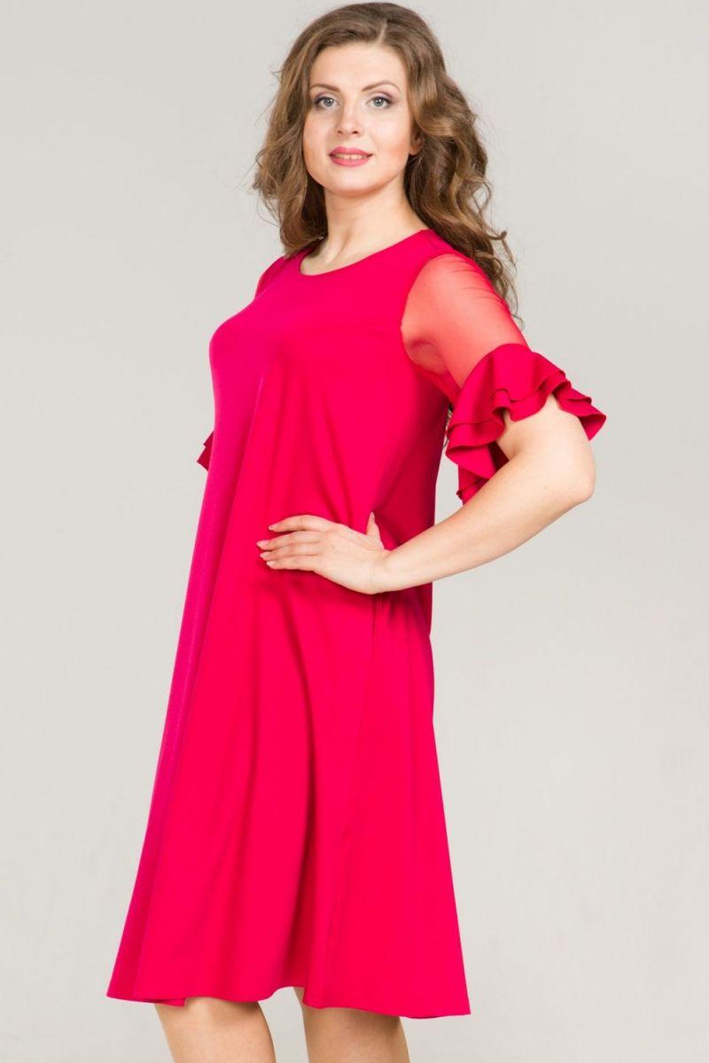 d9e9c9beaad0d9e Яркое платье с красивыми рукавами ПЛ-4697 (ткань - Трикотаж + сетка ...
